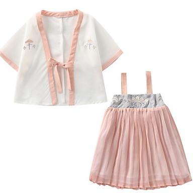 Djeca Djevojčice Osnovni Jednobojni Bez rukávů Komplet odjeće