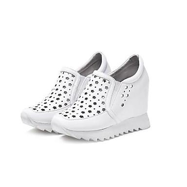 Žene Cipele PU Proljeće ljeto Udobne cipele Sneakers Wedge Heel Obala / Crn