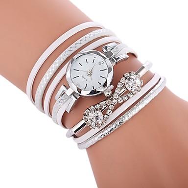 baratos Relógios Senhora-Mulheres Bracele Relógio envoltório relógio Quartzo Couro PU Acolchoado Preta / Branco / Azul Relógio Casual imitação de diamante Analógico senhoras Casual Fashion - Fúcsia Azul Champanhe Um ano