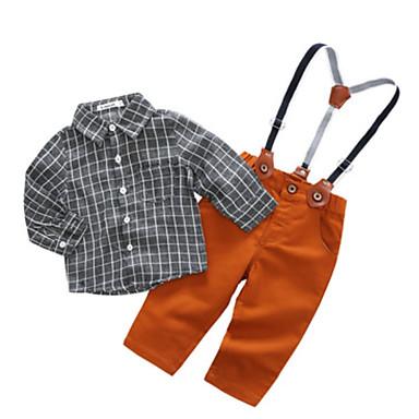 Dijete Dječaci Ležerne prilike Dnevno / Izlasci Karirani uzorak Dugih rukava Regularna Poliester Komplet odjeće Crn 100 / Dijete koje je tek prohodalo