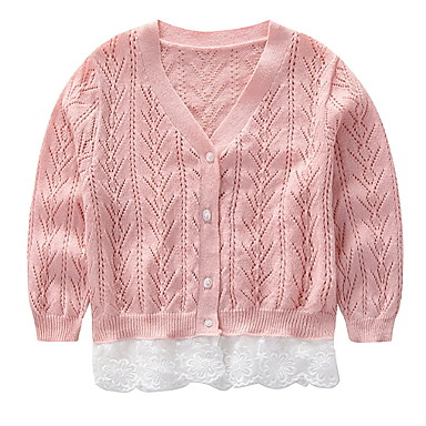 cheap Girls' Sweaters & Cardigans-Kids Girls' Basic Solid Colored Long Sleeve Polyester Sweater & Cardigan Pink