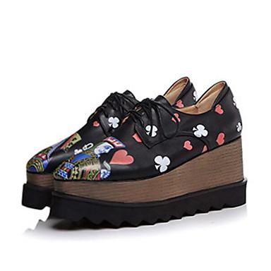 Žene Cipele Mekana koža Proljeće / Jesen Udobne cipele Oksfordice Wedge Heel Crn / Zelen