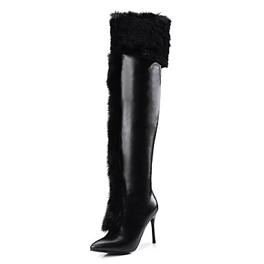 7070f267b Women's Shoes Rabbit Fur / PU(Polyurethane) Fall & Winter Fashion Boots  Boots Stiletto Heel Pointed Toe Over The Knee Boots White / Black / Party &  Evening