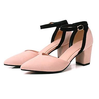 Cuadrado 06840238 Tacón Zapatos Rosa Amarillo Tacones Ante Primavera Confort Mujer Negro wYFvqOv
