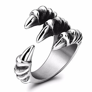 voordelige Herensieraden-Heren Statement Ring Staartring обернуть кольцо 1pc Zilver Titanium Staal Rond Geometrische vorm Statement Stijlvol Maskerade Festival Sieraden Stijlvol Draak Cool