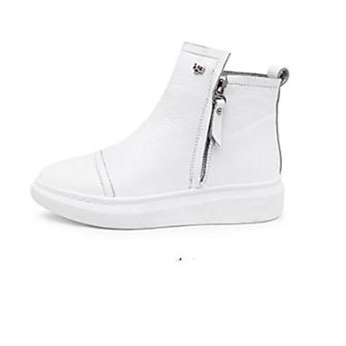 Blanc Bottes Confort Chaussures Demi Noir Nappa Bottine Bout Talon fermé Plat hiver Femme Botte Cuir 06775550 Automne 6qdYXXw