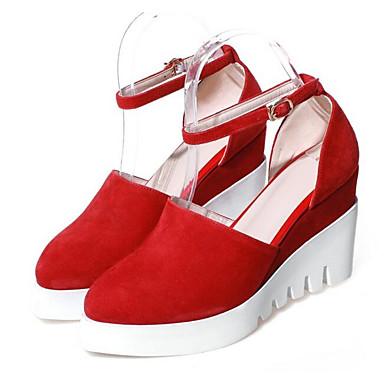Chaussures compensée Femme Hauteur semelle Confort de Rouge Noir Printemps Blanc à Talons Chaussures Cuir Nappa 06797030 Pq4RfqX