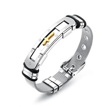 abordables Bracelet-Chaînes Bracelets Bracelet Jonc Bracelet ID Homme Lien / Chaîne Acier inoxydable Branché Décontracté / Sport Mode Bracelet Bijoux Argent Forme de Ligne pour Cadeau Quotidien