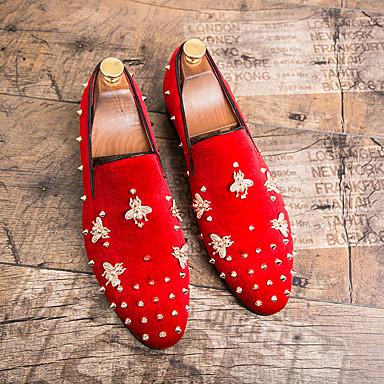 abordables Meilleures Ventes-Homme Chaussures Formal Daim Automne hiver Mocassins et Chaussons+D6148 Noir / Rouge / Mariage / Soirée & Evénement
