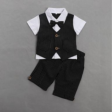billige Sett med Drenge babyklær-Baby Drenge Aktiv / Basale Daglig / Fødselsdag Stribet Kortærmet Normal Bomuld Tøjsæt Sort