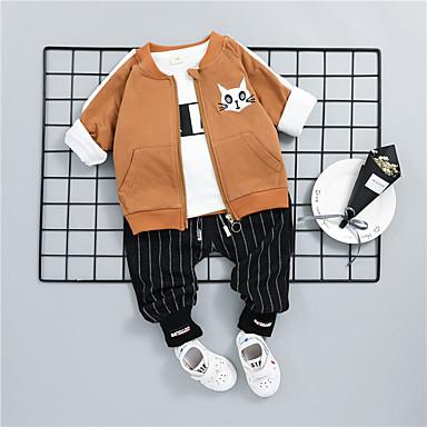 Dijete Dječaci Ležerne prilike / Osnovni Sport Print Dugih rukava Pamuk Komplet odjeće / Dijete koje je tek prohodalo