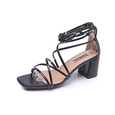Sandalias Tobillo en Negro Blanco Verano Cuadrado Tira 06796971 Zapatos el Tacón PU Hebilla Amarillo Mujer naWUYp0H