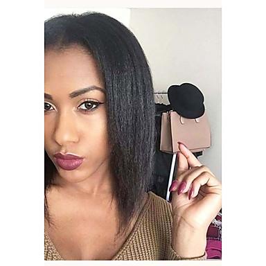 cheap Human Hair Wigs-Remy Human Hair Full Lace Wig Bob Short Bob Kardashian style Brazilian Hair Yaki Straight Black Wig 130% Density with Baby Hair Natural Hairline 100% Hand Tied Black Women's 8-14 Human Hair Lace Wig
