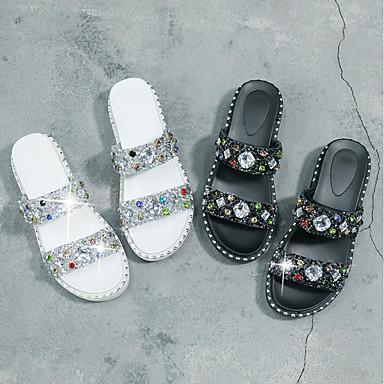 Zapatos Zapatillas Talón Lentejuela Descubierto Verano PU y plataforma Negro Mujer Media 06832682 Blanco flops flip XSqdwpxS
