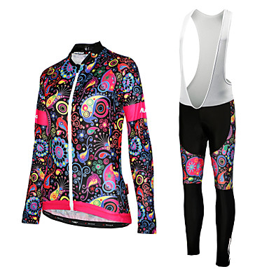 בגדי ריקוד נשים שרוול ארוך חולצת ג'רסי וטייץ ביב לרכיבה - לבן / שחור אופניים ג'רזי / גרביונים ביב, ייבוש מהיר, עמידות UV מעוטר