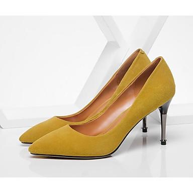 Peau Escarpin Talon mouton Chaussures Chaussures Femme Jaune 06810797 de Noir Confort Talons à Basique Aiguille Printemps Automne 1qA5F