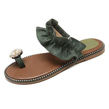 Tacón Verde Perla de Zapatillas flip Mujer Plano Anillo flops Zapatos Verano Imitación 06775985 Frontal Beige y PU 7wSzZqSPn