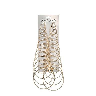 Women's Stud Earrings Hoop Earrings Long 3D Ladies Trendy Hyperbole Earrings Jewelry Gold / Silver For Gift Daily 12 Pairs