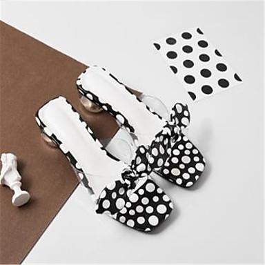 Eté Talon 06790151 ouvert Blanc Basique synthétique Sandales Femme Noir Chaussures Matière Bout Escarpin Bottier AqttHa