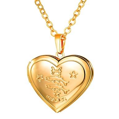 billige Mote Halskjede-Dame Anheng Halskjede Lang Zodiac Indgraveret Medaljong Fiskene damer Romantikk Mote Kobber Gull Sølv 55 cm Halskjeder Smykker 1pc Til Gave Daglig