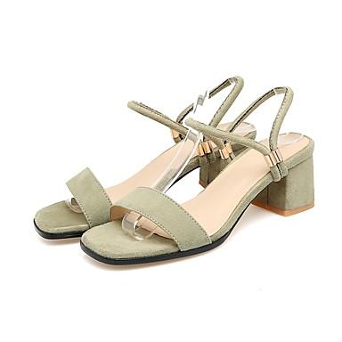 Tirer Confort pleineHommes t parti des matériaux——Femme Chaussures Daim Eté Confort Tirer  s Talon Bottier Noir / Vert / Amande 05bc72