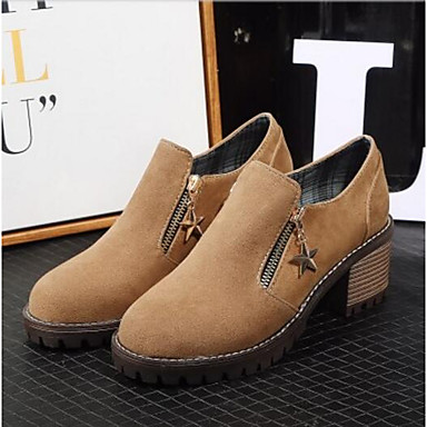 Primavera Mujer Dedo Confort Cuadrado Oxfords redondo Amarillo Otoño Verde Zapatos Tacón PU Negro 06795024 qqEwgAWU