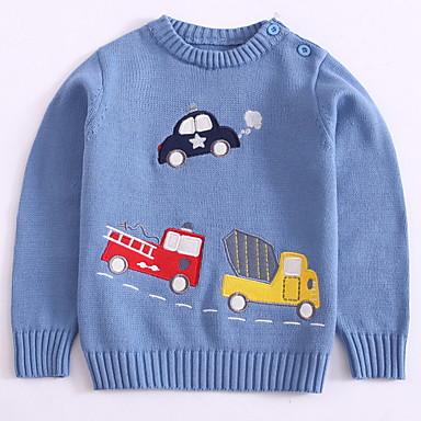 baratos Suéteres & Cardigans para Meninos-Infantil Para Meninos Básico Diário Estampado Estampado Manga Longa Padrão Algodão Suéter & Cardigan Azul