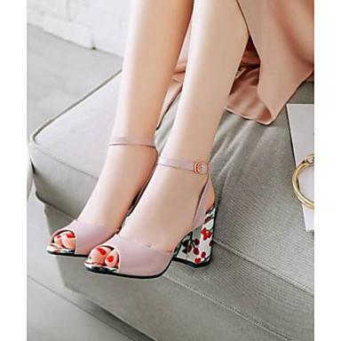 Women's Shoes PU(Polyurethane) Summer Comfort Sandals Chunky Heel / Peep Toe Buckle Black / Heel Red / Pink fa015c