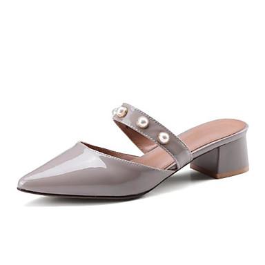 des chaussures en cuir nappa - printemps et été été été sandale sabots & mules chunky talon orteil imitation gris perle. 9a04e8