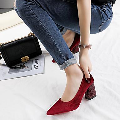 PU Zapatos Puntiagudo Rojo Pump Negro Tacones Verano Mujer Lentejuela Básico Cuadrado Tacón 06832696 Dedo Sa5zqx4