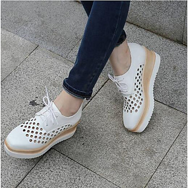 Women's Shoes Flat PU(Polyurethane) Summer Comfort Oxfords Flat Shoes Heel Closed Toe White / Black / Pink 1315bc
