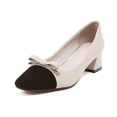 Žene Cipele Mekana koža Proljeće Udobne cipele / Obične salonke Cipele na petu Kockasta potpetica Svjetlo siva / Badem