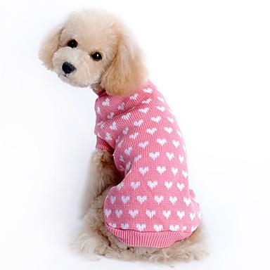 Roedores Perros Gatos Suéteres Decoración Navidad Ropa para Perro Estampado Simple Corazón Rosa Textil Disfraz Para Dálmata Corgi Beagle Primavera & Otoño Invierno Hombre Mujer Casual / Diario