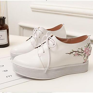 Blanc de compensée Bout fermé Confort 06832160 Cuir Chaussures semelle Eté Hauteur Printemps Oxfords Femme Nappa vUw8UO