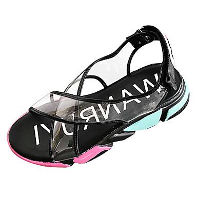 Blanco Mujer Verano Sandalias Negro redondo Confort PU Tacón Dedo Zapatos Plano 06781757 OFxrFqEwz