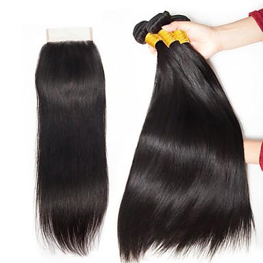 baratos Extensões de Cabelo Natural-3 pacotes com fechamento Cabelo Malaio Liso 8A Cabelo Humano Não processado Cabelo Natural Cabelo Humano Ondulado Cabelo Bundle Um Pacote de Solução 8-20 polegada Côr Natural Tramas de cabelo humano