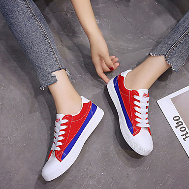 Tacón Zapatos 06840634 redondo Mujer Dedo Confort Rojo Plano de Zapatillas Otoño Tela Verde deporte fAqxAa0