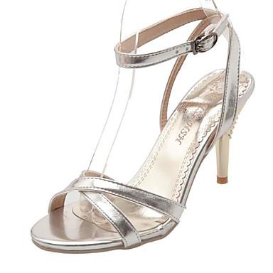 Žene Cipele PU Ljeto Udobne cipele Sandale Stiletto potpetica Otvoreno toe Kopča Zlato / Srebro / Crvena