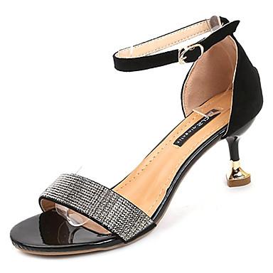 Žene Cipele Brušena koža Ljeto D'Orsay cipele Sandale Stiletto potpetica Okrugli Toe Štras Crn / Bež / Zabava i večer