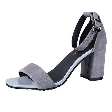 Dedo Mujer Cuadrado Verano Sandalias PU 06799908 Gris Zapatos en Tobillo el Tacón cuadrada Tira Negro vqwvAra