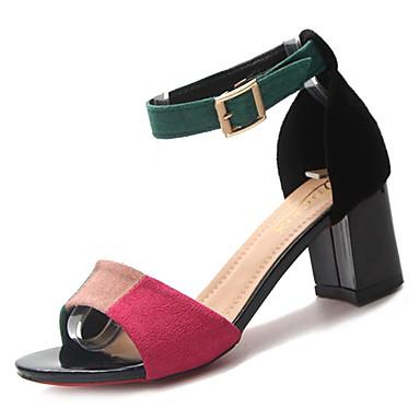 Zapatos PU Rojo Verano Tobillo el Sandalias Verde Tacón Mujer 06775997 Tira Cuadrado en dU6dwq