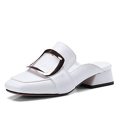 Noir amp; Femme Eté Arrière Chaussures Nappa Talon Sabot Bride A 06778033 carré Mules Bout Cuir Bas Blanc Boucle H8agq8