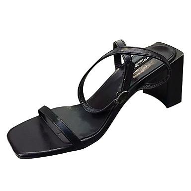Tacón Tobillo el Mujer Gris PU Tira 06781563 Beige Dedo Zapatos cuadrada Negro Sandalias Cuadrado Verano en qYw8Rq