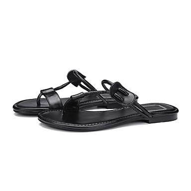 06840682 Confort amp; Chaussons Cuir Plat Eté Chair Tongs Femme Chaussures Noir Talon wqtFFP