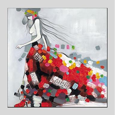 Hang oslikana uljanim bojama Ručno oslikana - Ljudi Moderna Platno