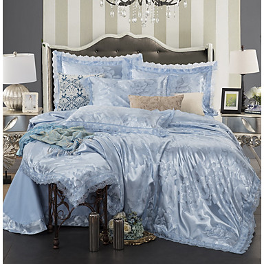 Duvet Cover Sets Luxury Polyster Jacquard 4 Piecebedding 300 4pcs 1 Flat Sheet 2 Shams