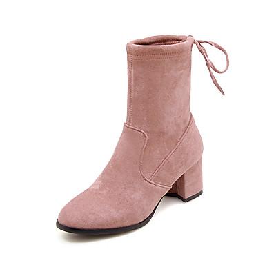 Žene Cipele Eko koža / Elastična tkanina Jesen zima Modne čizme Čizme Kockasta potpetica Okrugli Toe Čizme gležnjače / do gležnja Sive boje / Bijela / Pink
