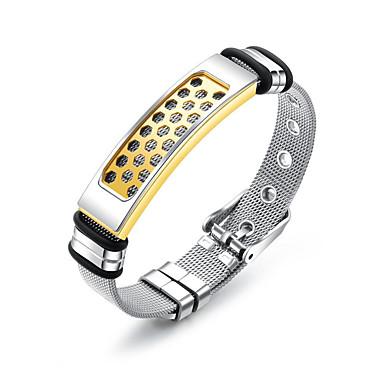 abordables Bracelet-Chaînes Bracelets Bracelet Jonc Bracelet ID Homme Lien / Chaîne Acier inoxydable Branché Décontracté / Sport Mode Bracelet Bijoux Dorée Forme de Ligne pour Cadeau Quotidien