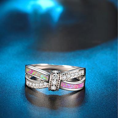 voordelige Dames Sieraden-Dames Statement Ring Verlovingsring Opaal Kubieke Zirkonia 1pc Zilver Koper Verguld Cirkelvorm Dames Artistiek Bohémien Bruiloft Club Sieraden Touw Schattig