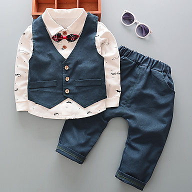 75d7fec2711a6 Baby Boys' Active / Basic Daily / Going out Check Print Long Sleeve Regular  Regular Cotton Clothing Set Blue / Toddler